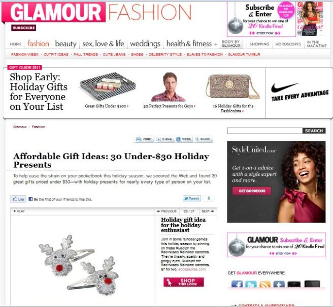 Glamour.com Christmas Gift Idea placement